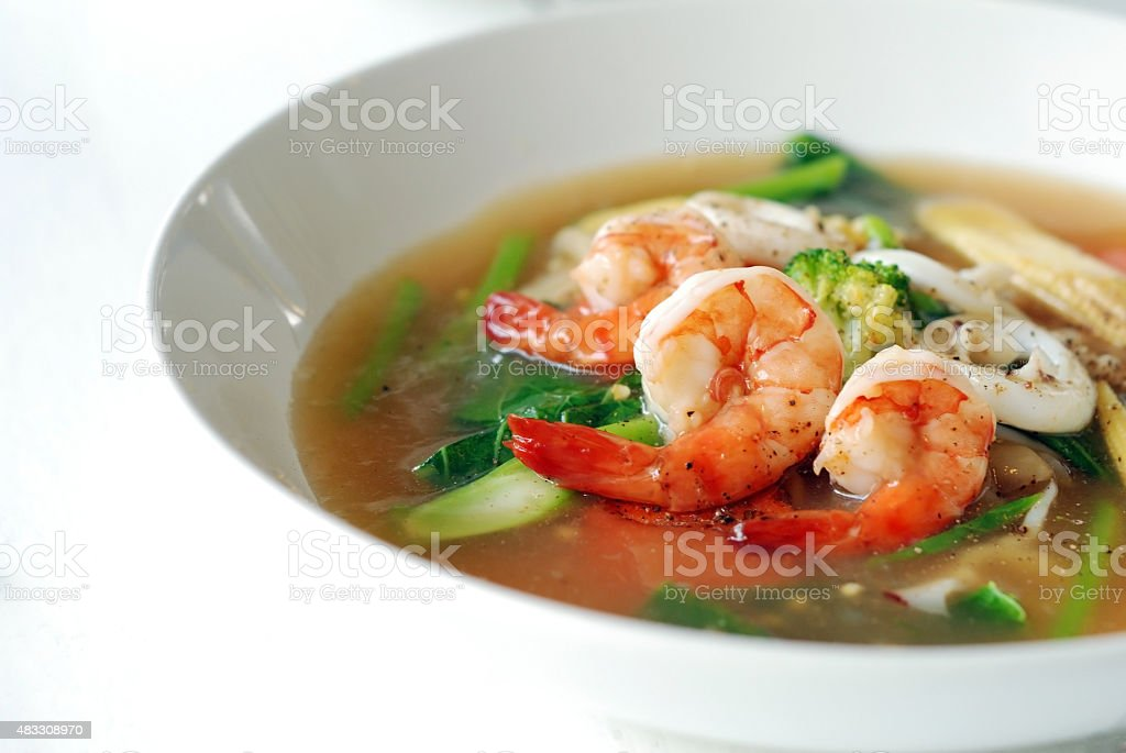 Fry noodle in gravy stock photo