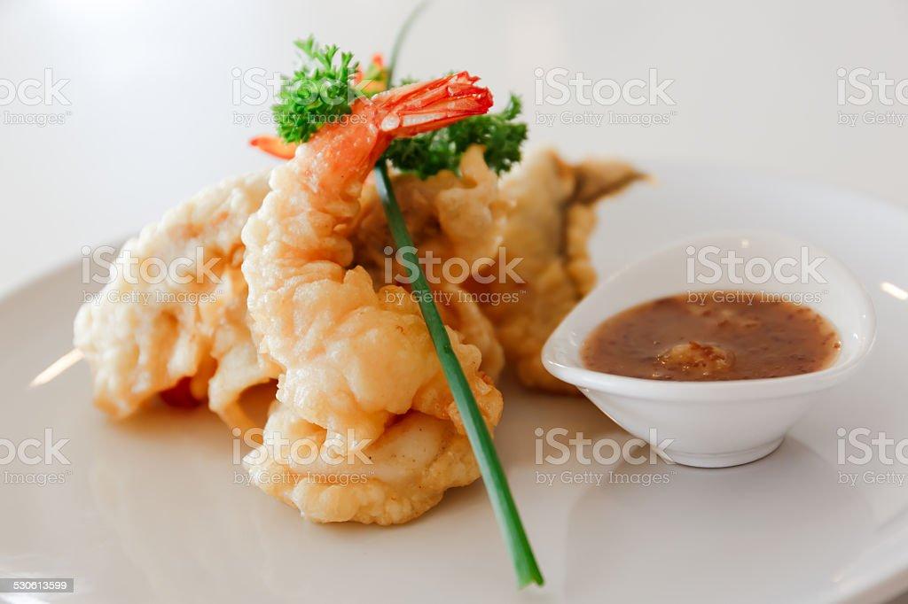 Fry prawn balls,Deep fry Shimps with dip stock photo