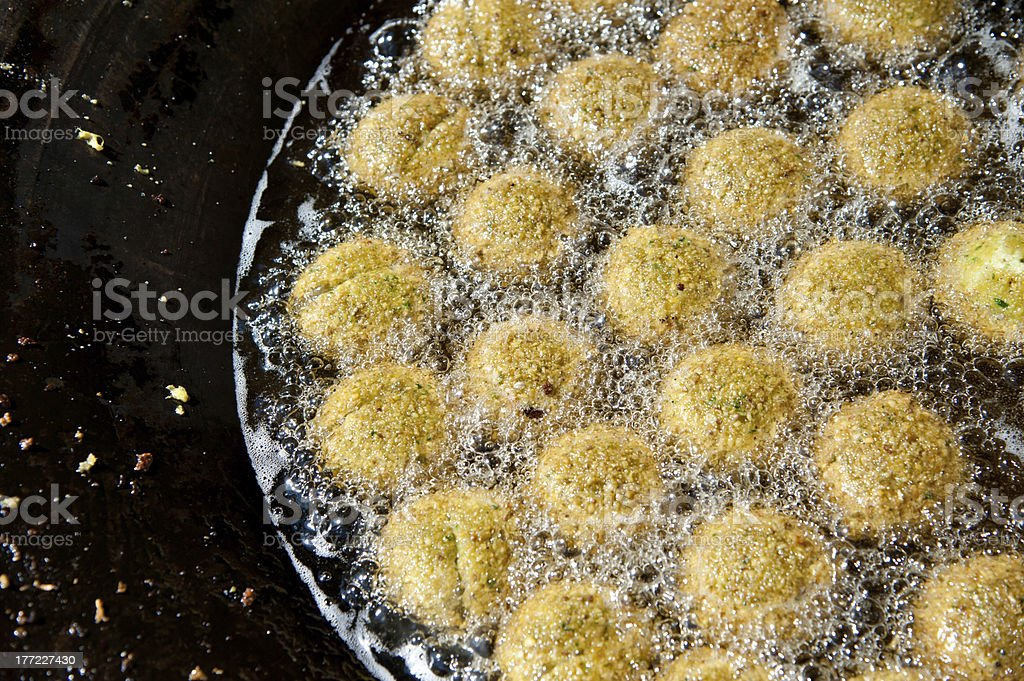 Frying falafel stock photo