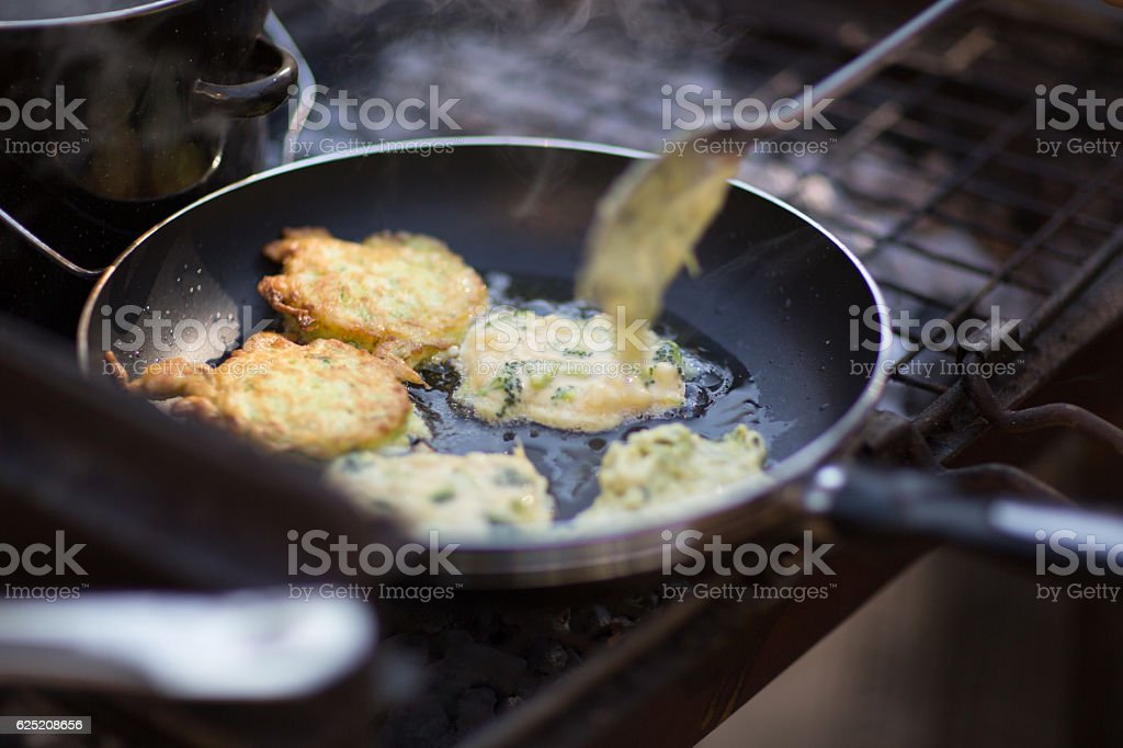 Frying Fritters stock photo