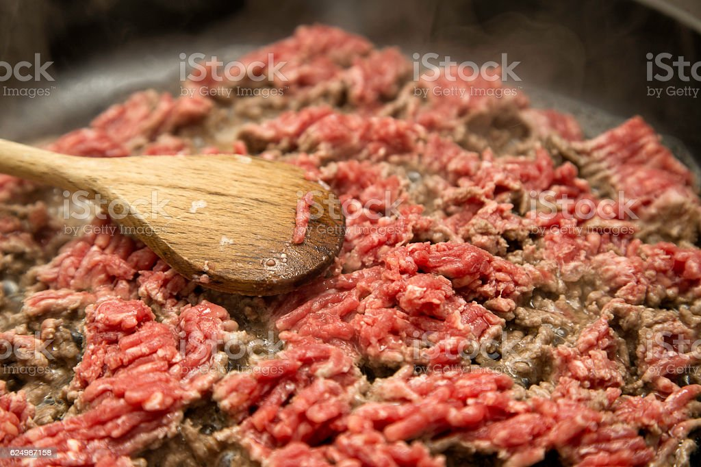 Frying minced meat stock photo