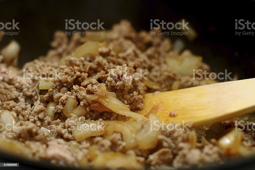 frying mincemeat royalty-free stock photo