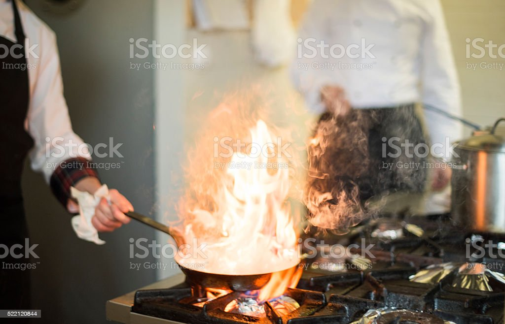 Frying pan is on fire stock photo