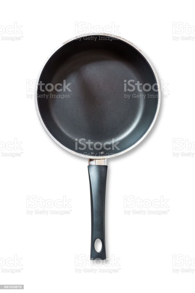 Frying pan isolated on white background stock photo