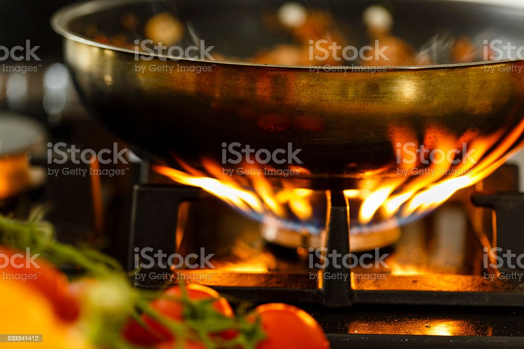 Frying pan on gas stove, close-up stock photo