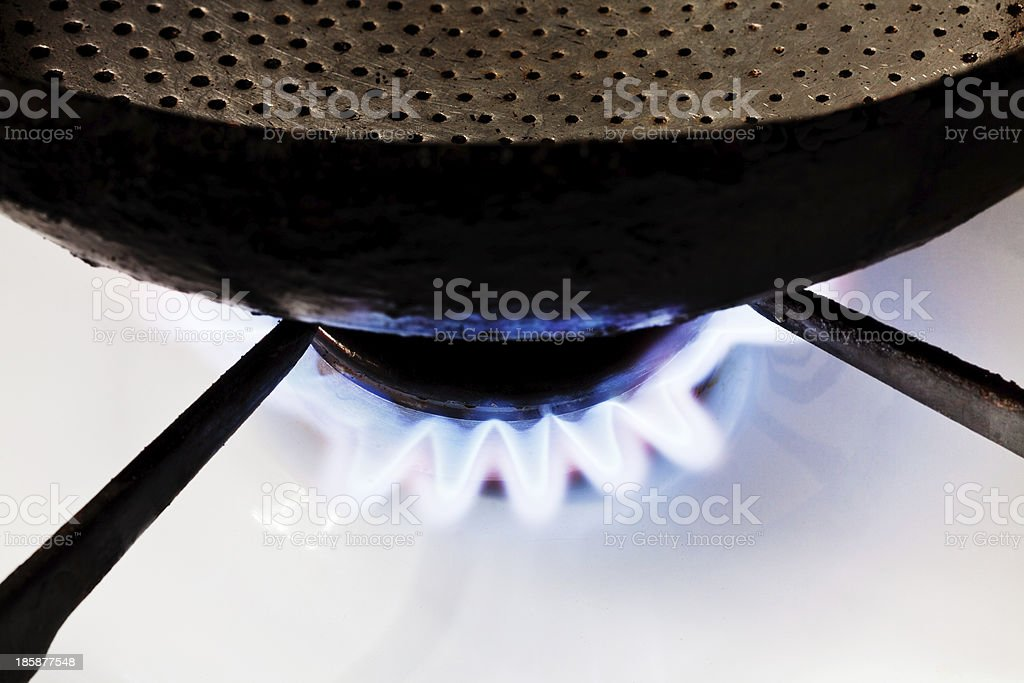 frying pan on stove royalty-free stock photo