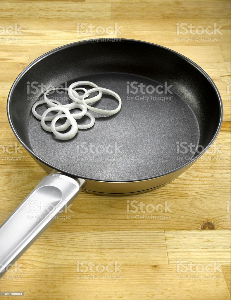 frying pan with Onion ring royalty-free stock photo