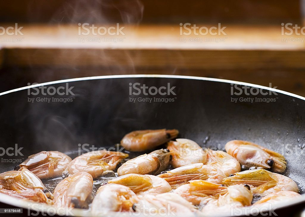 Frying pan with sea food royalty-free stock photo