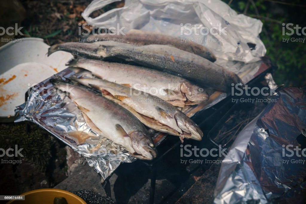 frying small fish stock photo