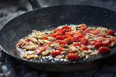 Frying Tomatoes and Mushrooms