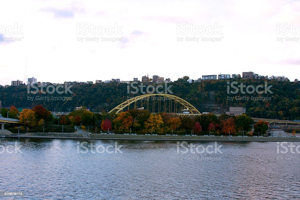 Ft. Pitt bridge in Pittsburgh stock photo