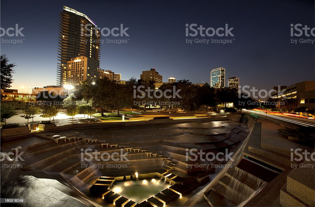 Ft Worth water gardens top view stock photo