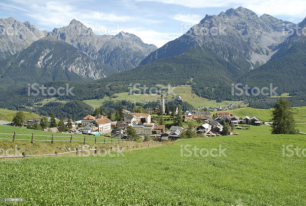Ftan Village in Switzerland royalty-free stock photo