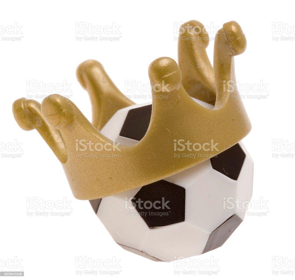Fu߂ball mit Krone - König Fußball stock photo