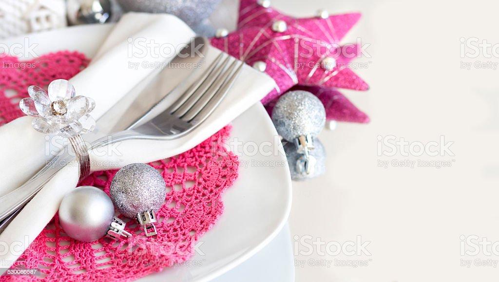 Fuchsia Pink Christmas Table Setting stock photo