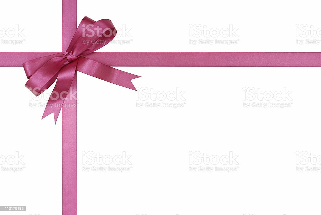 Fuchsia pink gift ribbon and bow stock photo