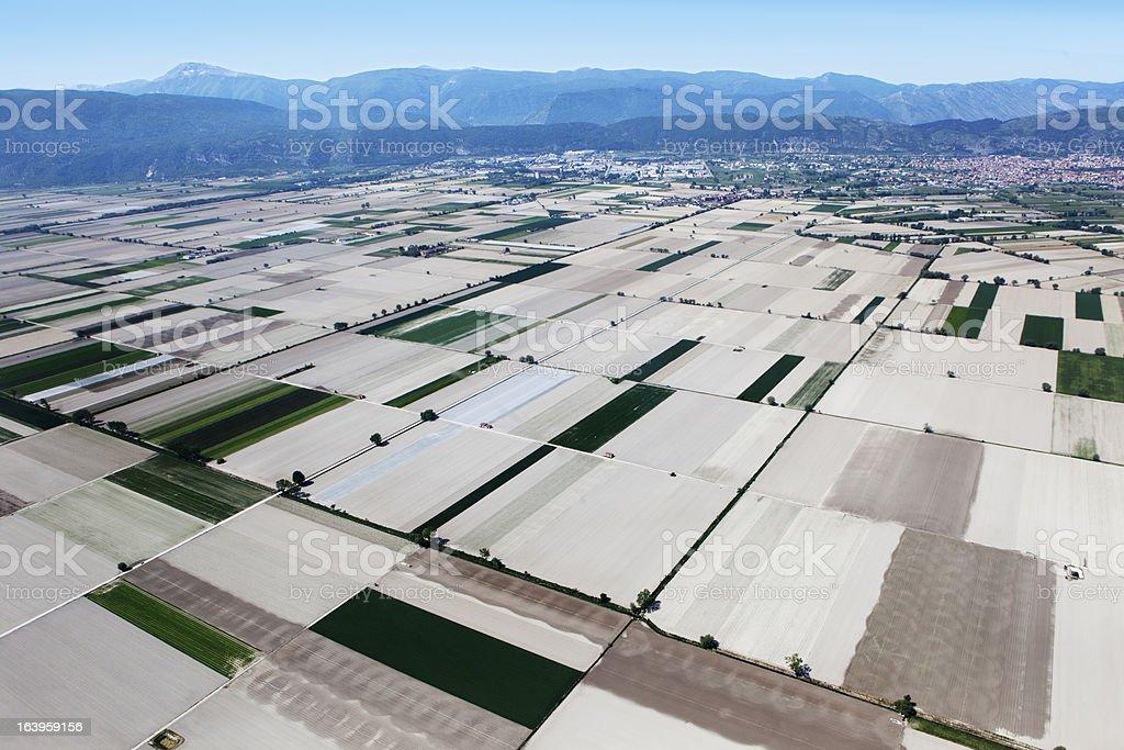 Fucino, in Abruzzo, aerial view royalty-free stock photo