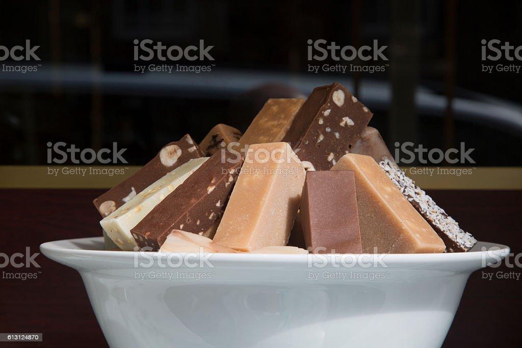 Fudge for Sale on Royal Mile, Edinburgh stock photo