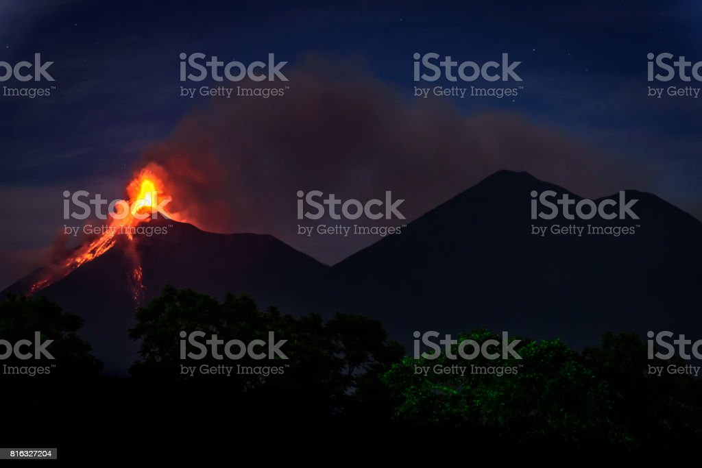 Fuego volcano erupting in Guatemala stock photo