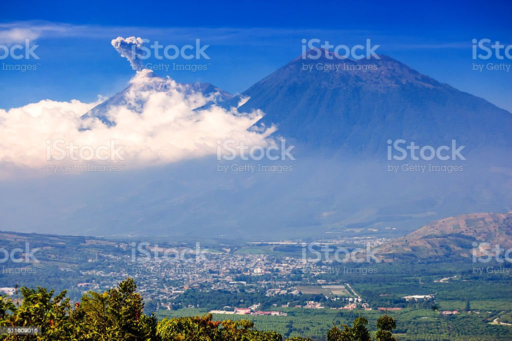 Fuego volcano erupts, Guatemala stock photo