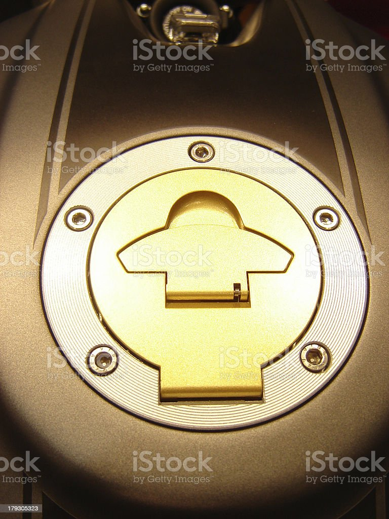 Fuel cap of a motorcycle. royalty-free stock photo