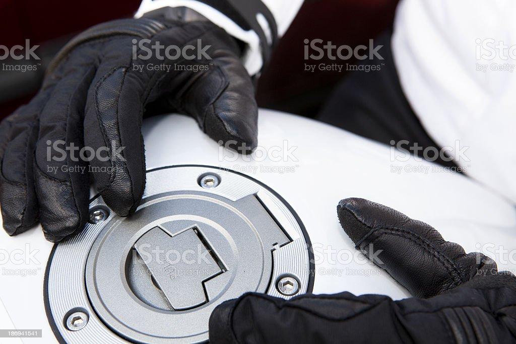 Fuel cap on motorcycle stock photo
