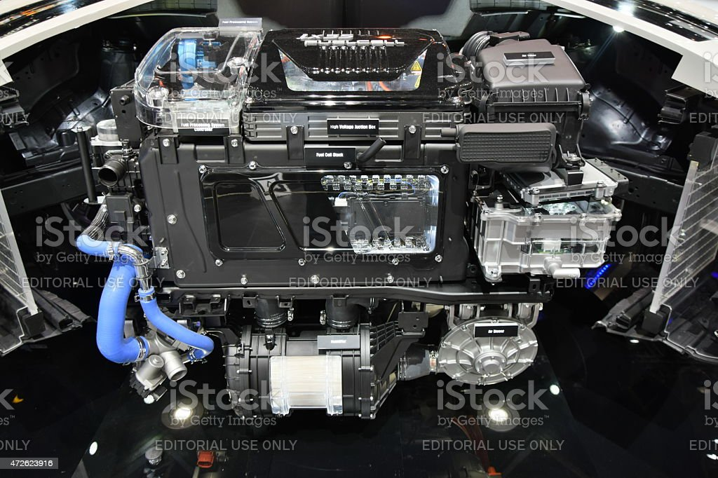 Fuel cell electric engine on the motor show stock photo