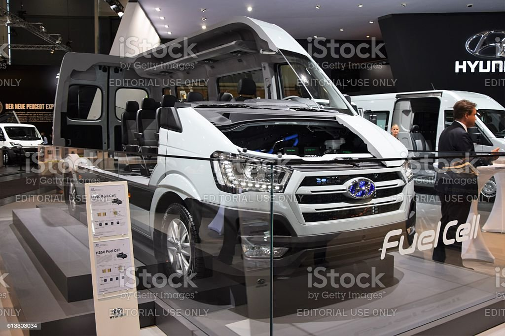 Fuel cell electric minibus on the motor show stock photo