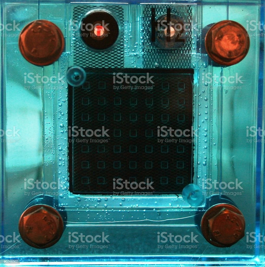 fuel cell, hydrogen side stock photo