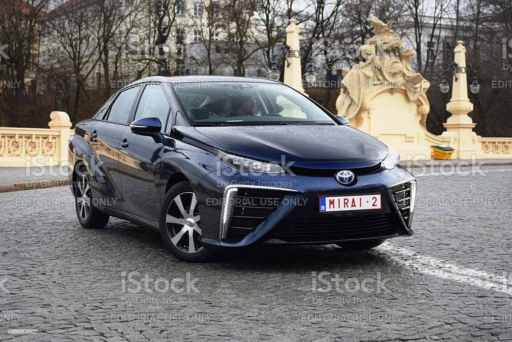 Fuel cell vehicle on the street stock photo