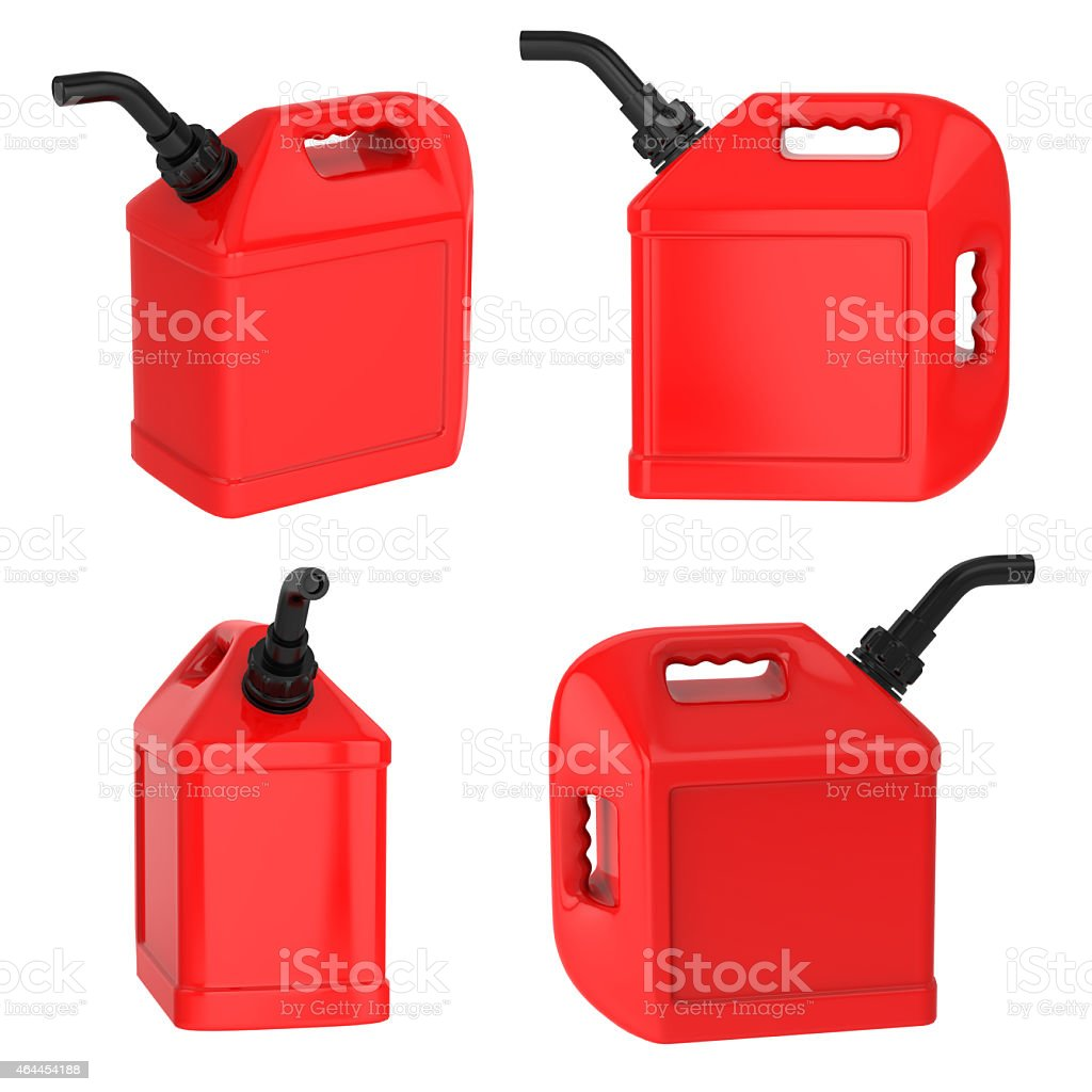 Fuel container gas can red jerrycan isolated on white stock photo