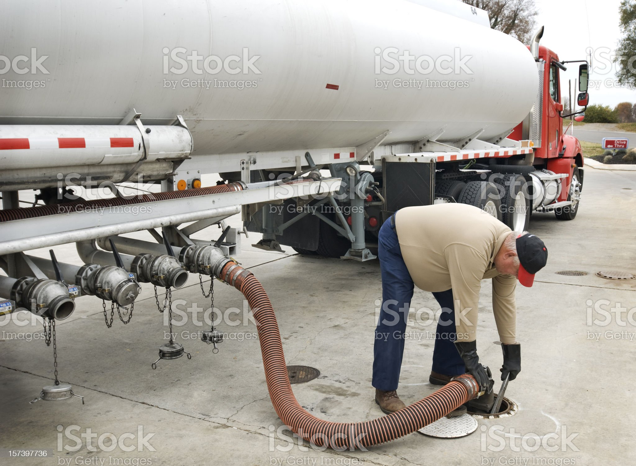 Fuel Delivery Operator Fills Underground Tank royalty-free stock photo