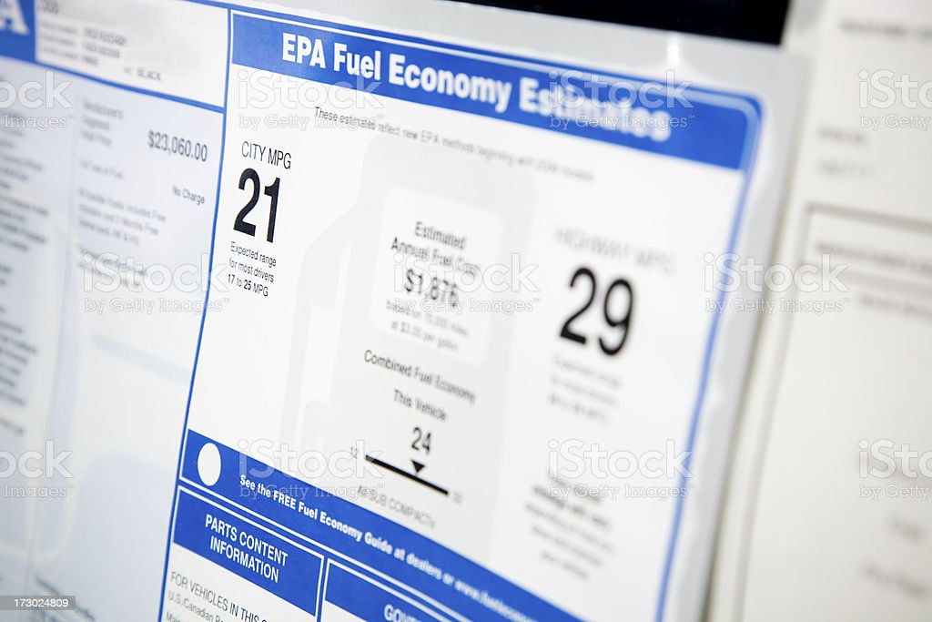 fuel economy information sheet royalty-free stock photo