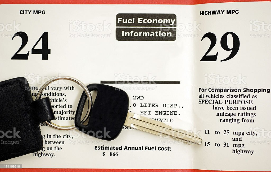 Fuel Economy Rating for Cars stock photo