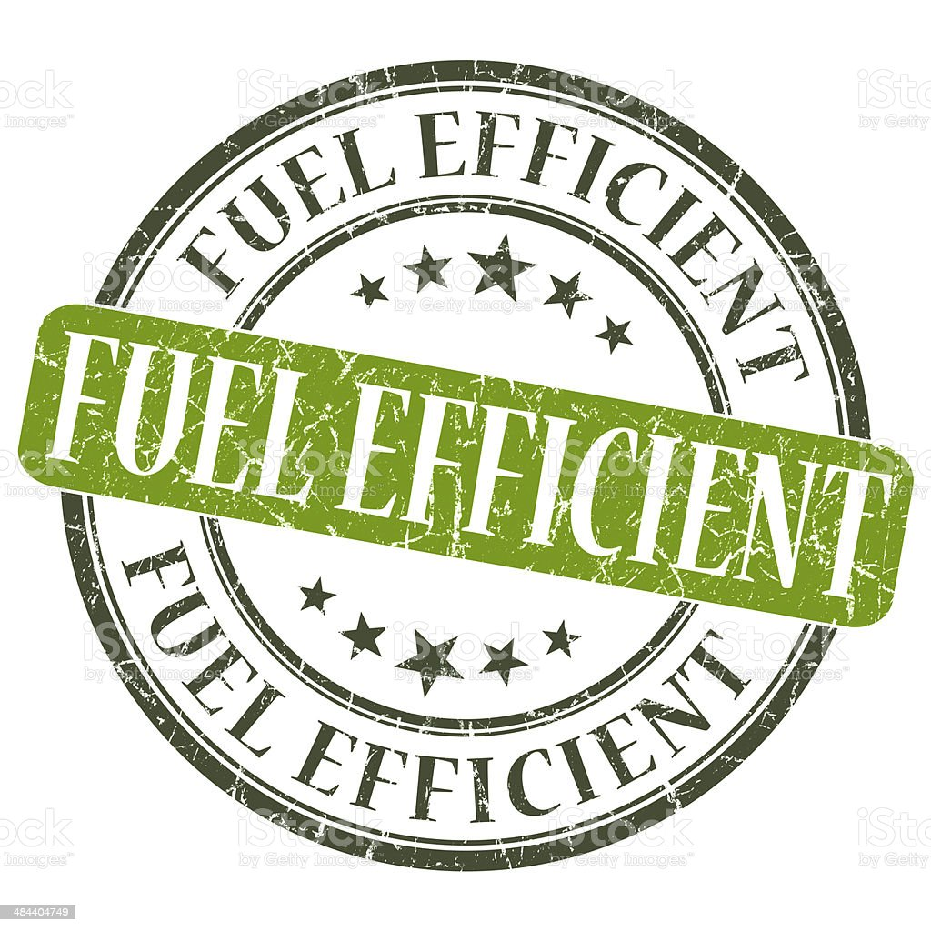 Fuel Efficient green grunge round stamp on white background royalty-free stock photo
