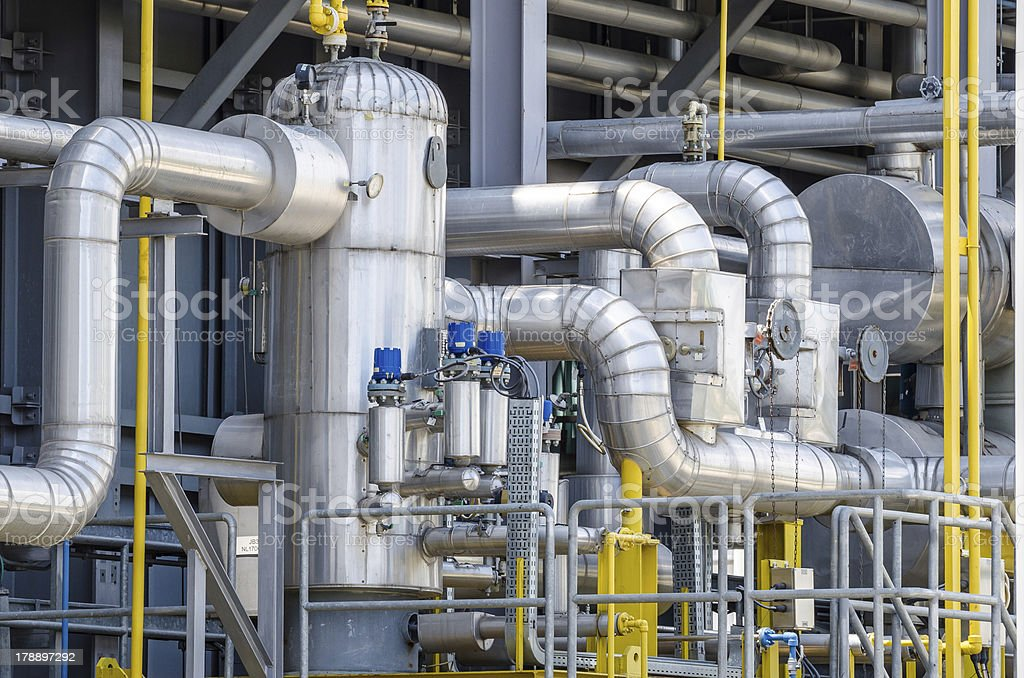 fuel gas , contaminated separator for electrical power plant stock photo