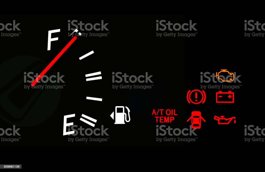 Fuel Gauge And Car Dashboard Signs Stock Photo  IStock - Car sign on dashboard