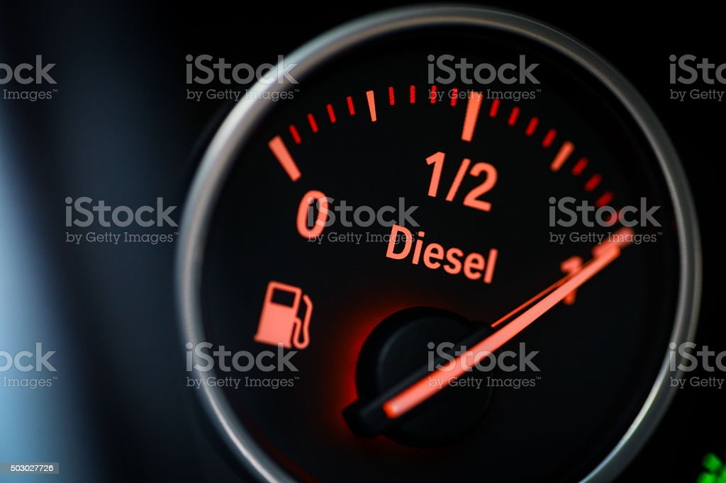 Fuel gauge - diesel stock photo