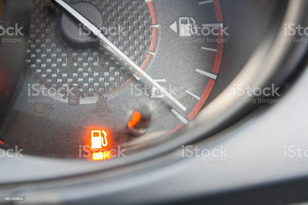 fuel gauge empty stock photo