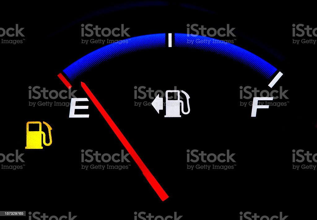 Fuel Gauge Showing Almost Empty stock photo