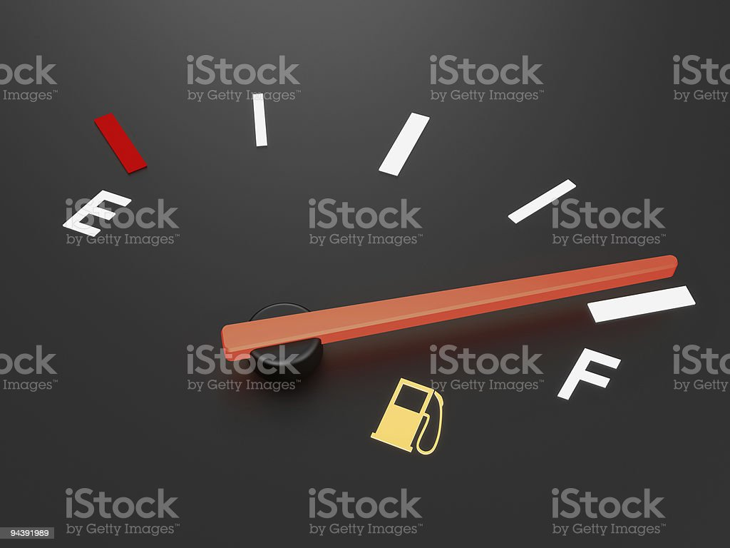 A fuel gauge showing fuel level almost full stock photo