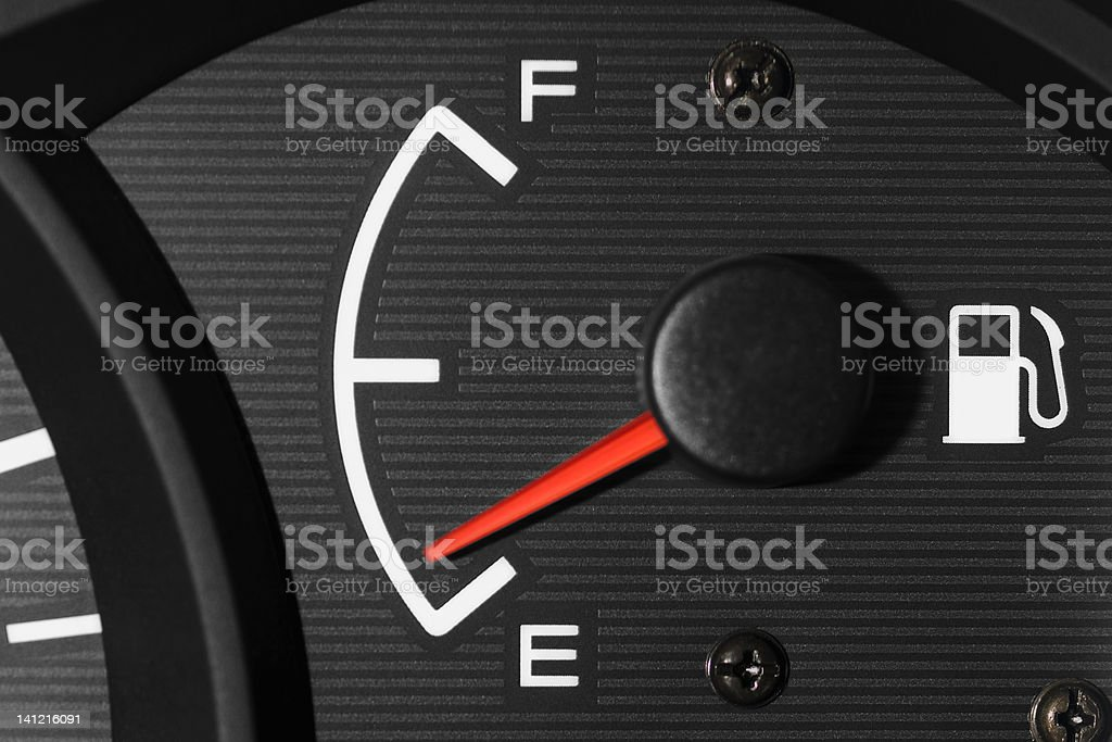 Fuel gauge showing, it's time to fill up  stock photo