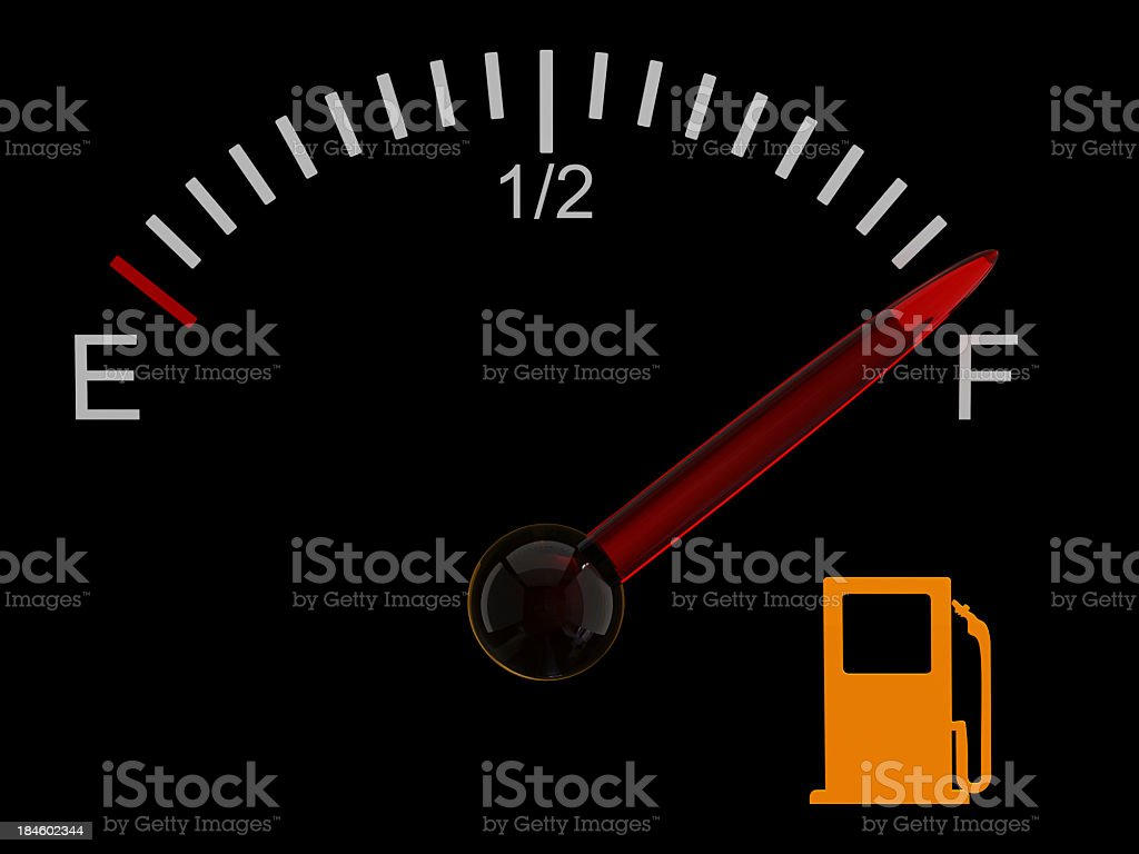 Fuel gauge with red needle at full royalty-free stock photo