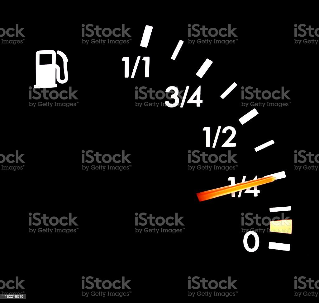 fuel indicator in car cockpit stock photo