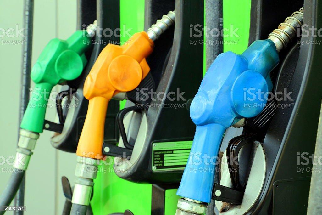Fuel nozzles stock photo