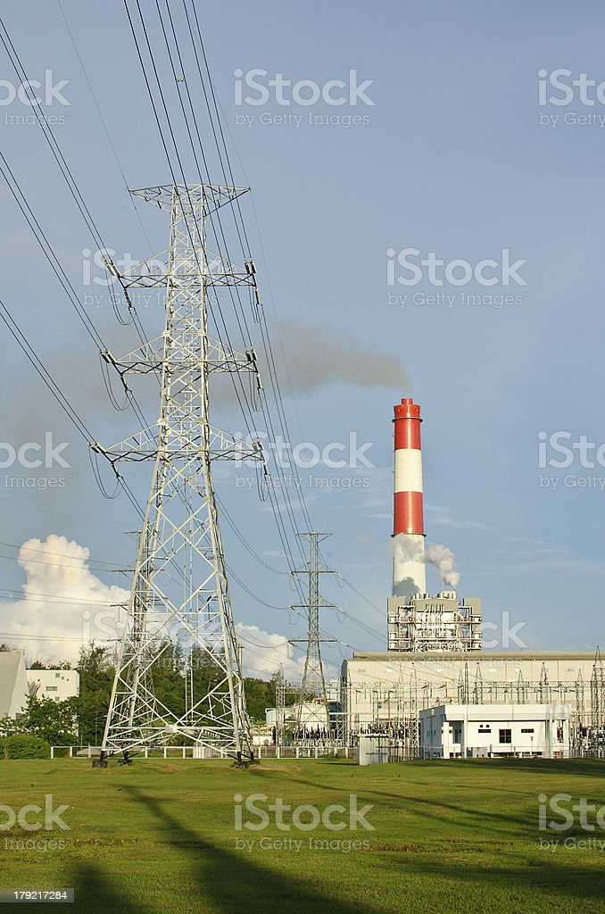 Fuel Oil power plant with the green yard stock photo