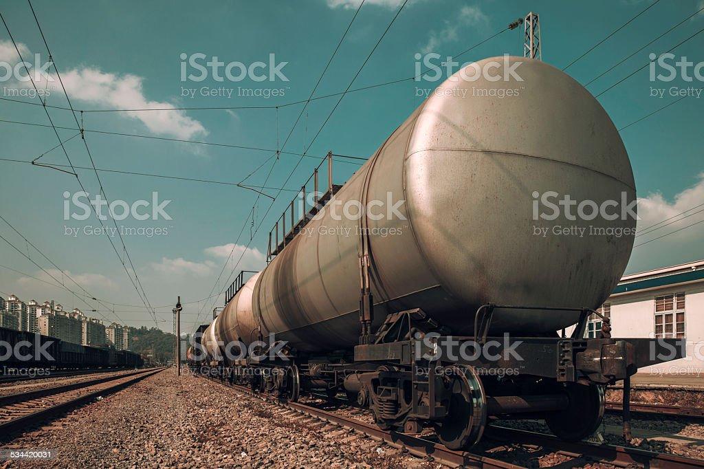 Fuel petrol tanks train on the railway stock photo