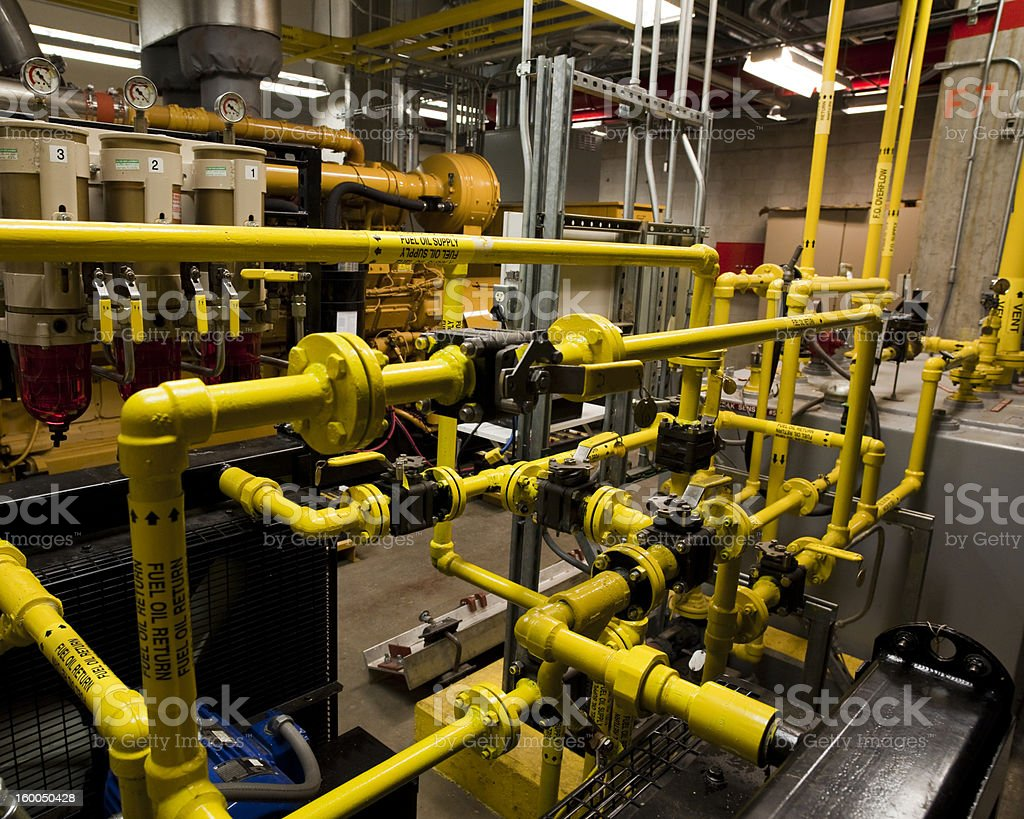 Fuel piping and valves stock photo