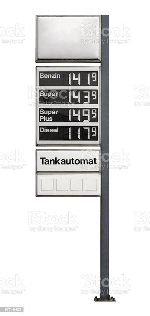 fuel price sign stock photo