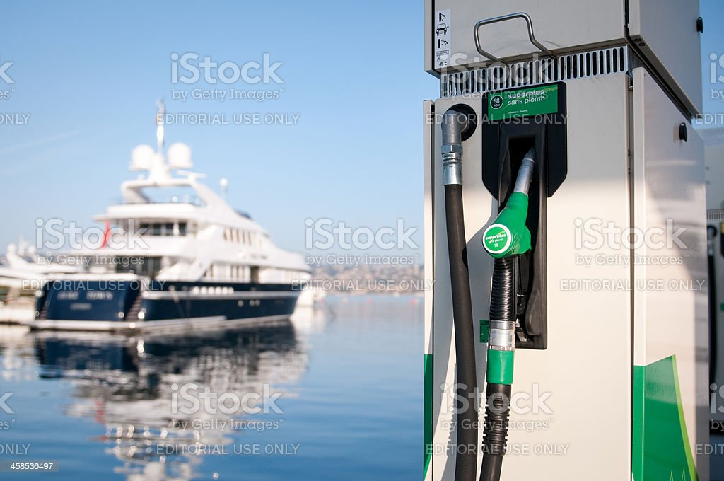 Fuel pump in a yacht harbour at Côte d'Azur, France stock photo